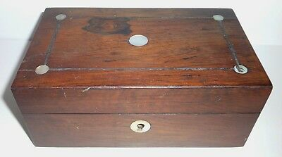 Antique Wood & MOP Inlay Sewing Box