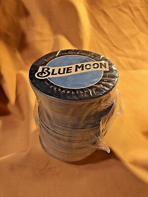 **new** Blue Moon Beer Coasters, 100 Count, Cardboard Round, Dual Sided Graphics