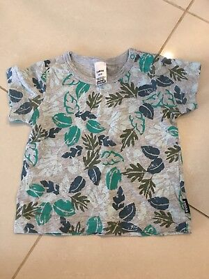 Baby Boys Bonds Grey And Green Patterned T-Shirt Size 00