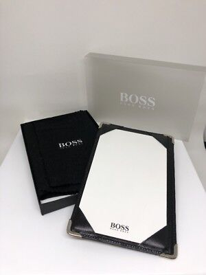 New Boss Hugo Boss Note Pad With Boss White Paper Black Stitched Leather & Box