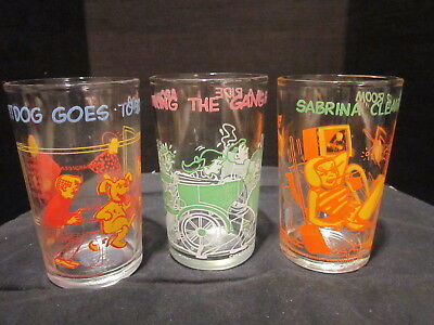 3 Welch's Jelly Archie Comics Glasses Jughead & Archie Faces in Bottom 1970's