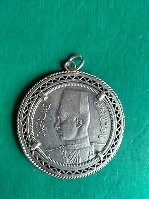 Egypt King Farouk 10 Piasters Coin 1939 Silver with Frame (20 Grams)
