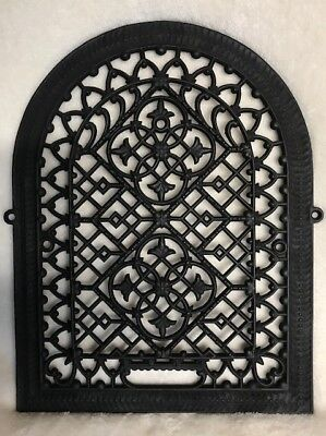Ornate 1870's Antique Victorian Cast Iron Arched Gothic Heat Register Grate Vent