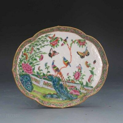 Mid 19th.c Chinese Famille Rose Medallion Canton Tray, Birds Butterflies Floral