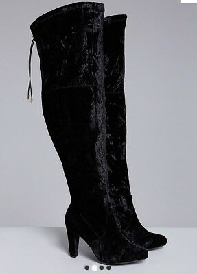 6899f91327a New LANE BRYANT Size 8W 8 WIDE CALF Black Crushed Velvet Over The Knee Boots  Box