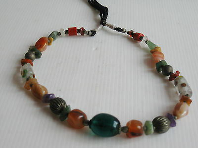 "OLD BEAD ROCK GLASS METAL MIX COSTUME JEWELRY NECKLACE 18 1/2""high THAILAND ASIA"