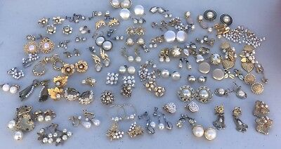75 Pr Vintage PEARL Earrings Lot of ESTATE COLLECTION Of Mixed Pearl Earring Lot