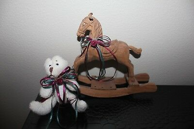 Vintage Handcarved Miniature Wooden Rocking Horse with Teddy Bear Leather Ears