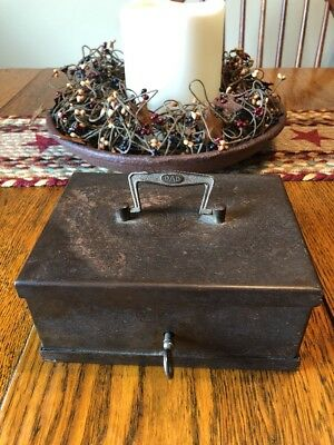 Early Antique DAD Iron Lock Strong Box Treasure Chest W/Key Vintage