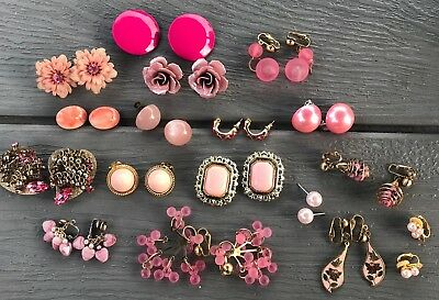 17 Pr Vintage PINK Earrings Lot of ESTATE COLLECTION Mixed Earring Lot