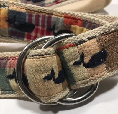 """J CREW Sz Sm 32"""" Cotton D Ring Belt, Madras Plaid With Embroidered Whales 🐳"""
