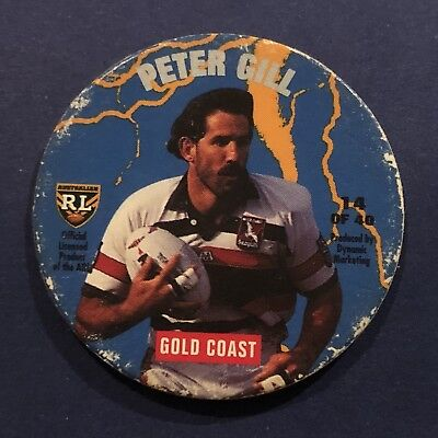1995 Coca-Cola NRL Rugby League Tazo Pog Gold Coast #14 Peter Gill