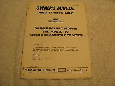"""Minneapolis Moline Town and Country Model 107 34"""" Rotary Mower Manual NC"""