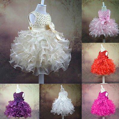Kid Girl Baby Princess Flower Bow Party Christening Occasion Wedding Dress Tutu