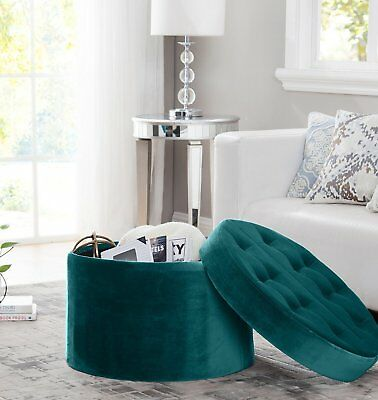 Pleasant Teal Round Storage Ottoman Tufted Velvet Footstool Large Andrewgaddart Wooden Chair Designs For Living Room Andrewgaddartcom