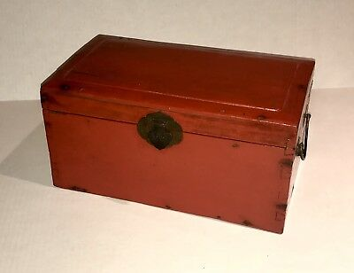 Antique Chinese Red Lacquer Wooden Chest