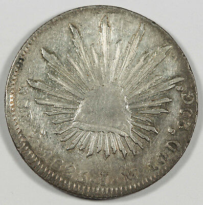 """Mexico 1825 MO JM """"CAP AND RAYS"""" 8 Reales Silver Coin XF Scarce Early Date"""