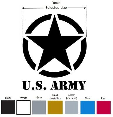 US Army star Logo w text Vinyl Decal Car Window Sticker - Choose Color and Size