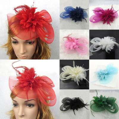 1pc Handmade Large Women Feather Floral Hair Fascinator Hat Headband Accessories