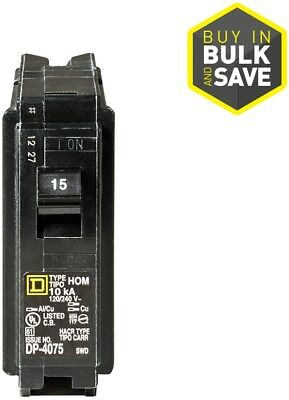 Square D Homeline 15 Amp 1 Pole Single pole Circuit Breaker Electrical Black