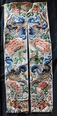 Pair Of Antique Chinese Silk Finely Embroidered Sleeve Panels (Cut Down Length)
