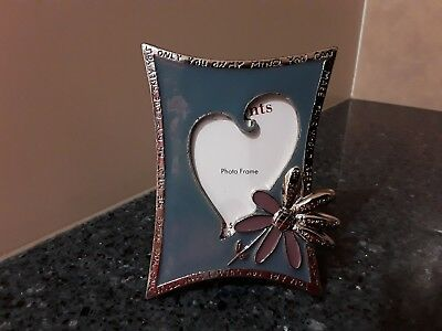 Pewter Picture Frame Enamel Blue Heart with Flower Made in China