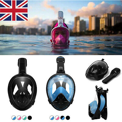 Underwater Scuba Anti Fog AntiLeak Full Face Diving Mask Snorkeling Scuba Set UK