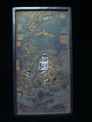 Rare Large Old Chinese Carving Landscape Monks Black Ink Stick Ink Slab Marks