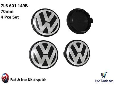 4 x VW 70mm Alloy Wheel Centre Caps -  VW Toureg, Tiguan Amarok  - 7L6 601 149B