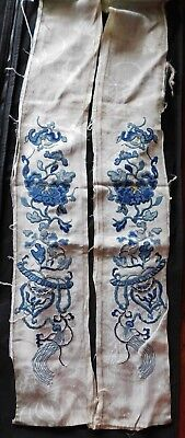 Fine Pair Antique Chinese Silk Forbidden Stitch Finely Embroidered Sleeve Panels