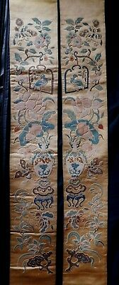 Very Fine Pair Of Antique Chinese Silk Embroidered Sleeve Panels