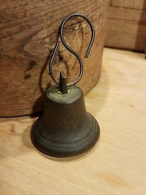 Antique Primitive Old Neat Small Brass Bell W S Hook  ***nice 19Th Century***