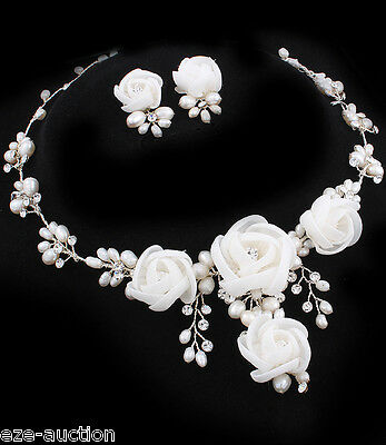 Brilliant Bride Organza Flower Freshwater Pearl, CZ Stainless Steel Necklace Set