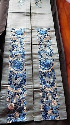 Pair Of Antique Chinese Silk Embroidered Sleeve Panels, Flowers / Butterflies
