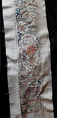 Single Antique Chinese Silk Embroidered Sleeve Panel, Urns / Bridges / Flowers