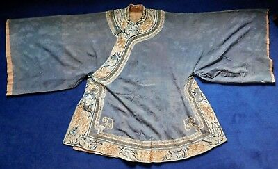 Antique Chinese Embroidered Edged Grey Silk Robe
