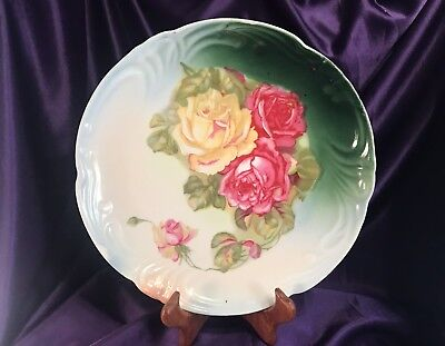 """Beautiful Vintage Hand Painted 12"""" Large Charger Plate With Roses – Signed?"""