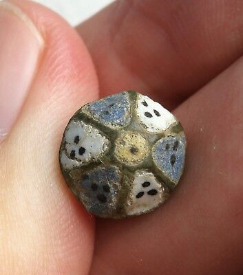 Ancient Greece Beautiful Button With Enamel Remains