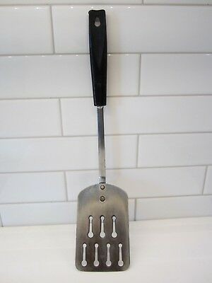 Vintage Ekco USA made metal slotted large spatula-Chromium plated black handle