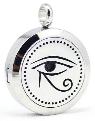 NEW Eye of Ra, Diffuser Necklace Locket Stainless Still, 10ml Oil 11 pads, gift.