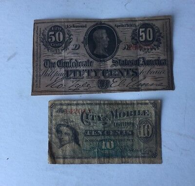 Ciry Of Mobile 10 Cent Note Confederate 50 Cent Note