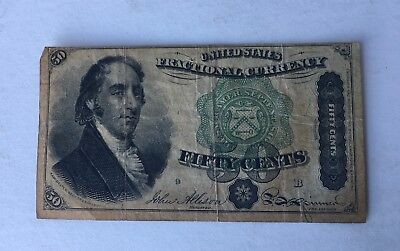 """1874 US Fractional Currency """"DEXTER"""" FIFTY CENTS"""" Fractional Currency"""