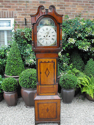 Good Old Antique 8 Day Grandfather Longcase Swan Neck Clock Working With Key Etc