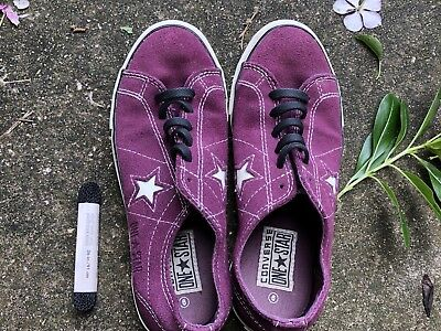 Womens Purple Leather Converse Shoes Size 6