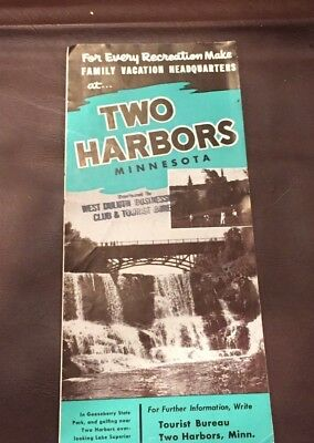 VINTAGE 1950's TWO HARBORS MINNESOTA LAKE SUPERIOR BROCHURE