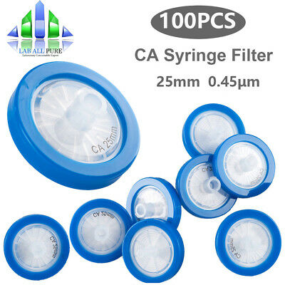 100Pcs Ca Syringe Filter ⌀25Mm 0.45Um Pore Size With Pp Prefilter Hydrophilic