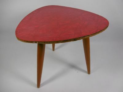 Flower Stool Flower Bench Side Table Red Kidney-Shaped Table The 60er Bank Stool