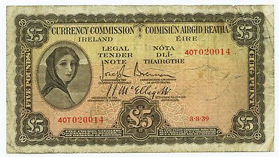 Currency Commission Ireland 5 Pounds 1939. Crisp VG to About Fine