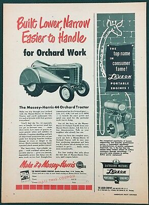 """1951 MASSEY-HARRIS 44 ORCHARD TRACTOR,  pg size 8-1/4"""" X 11-1/2""""  orig & vtg ad"""