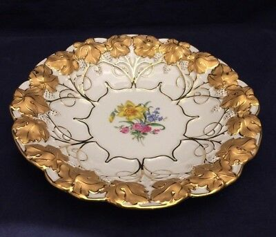 Meissen Porcelain Plate Charger Bowl with Heavy Gold Leaves Flowers 20th Century